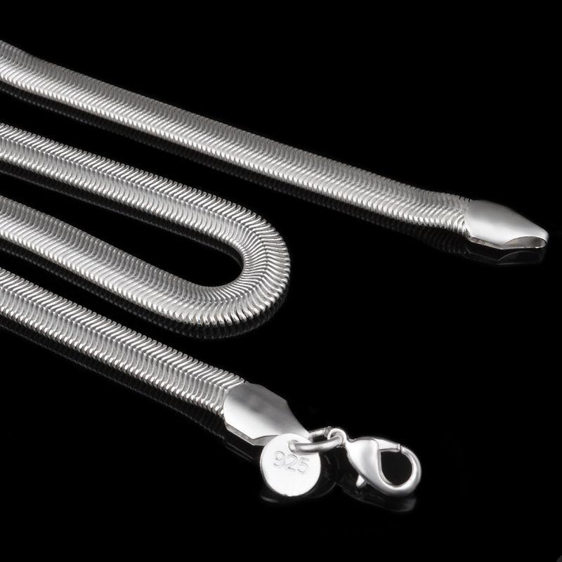 6mm 925 Ayar Gümüş Yılan Zincir Kolye Erkekler Kadınlar Için Düz Pürüzsüz Istakoz Klipsler Kalın Zincirler 16-24 inç Fit DIY Kolye Charm Takı