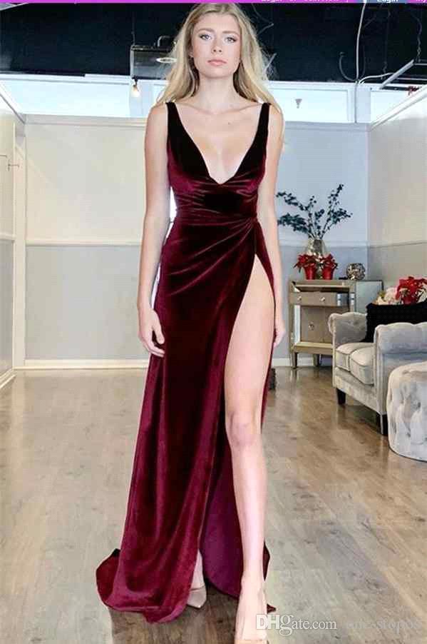 Sexy Deep Col Col Veature Soirée Soirée 2019 Gaine Formelle Formelle Haute robe de bal de fente personnalisée BC1591