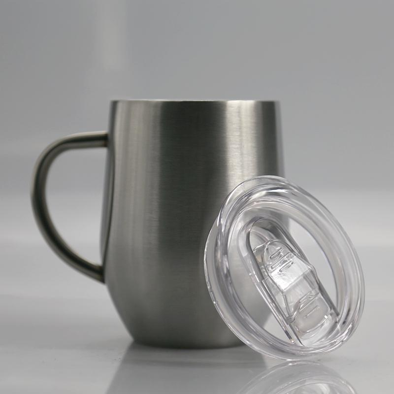 12oz Egg Shaped Mug Wine Glass Beer Cup With Handle Stainless