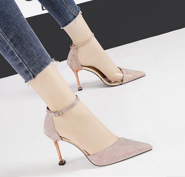 Senhora do escritório lantejoulas sapatos único tornozelo pontas cinta 9,5 centímetros PVC de alta heeld banquetes sapatas de vestido tamanho 4 cores 35-39