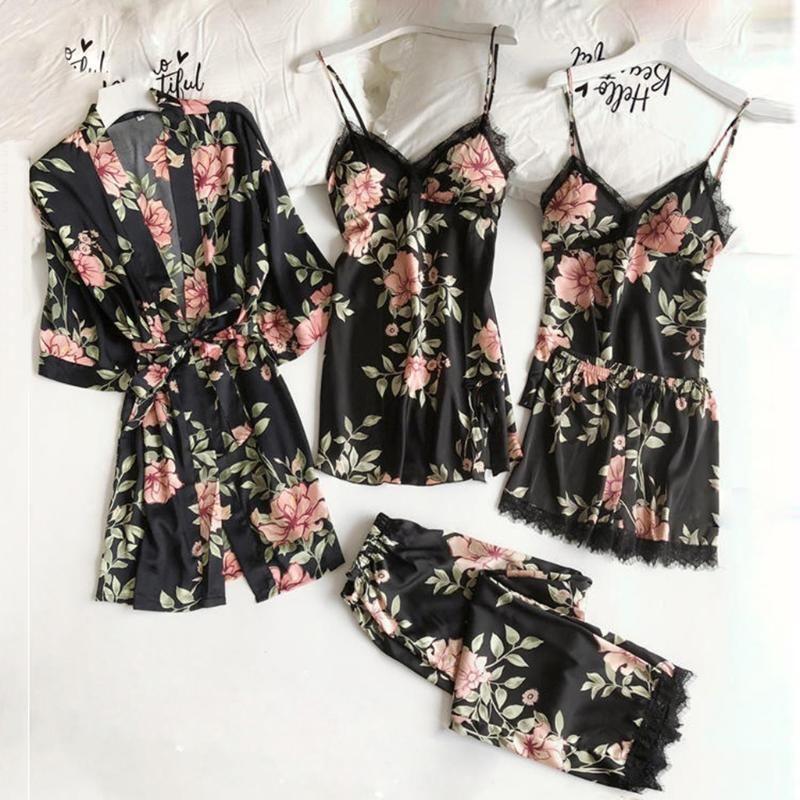 5pc Sexy Lace Satin Robe Bathrobe Trousers Shorts Lingerie Set Pajamas Sleepwear Casual Loose Nightgown Womens Pajamas Nightwear