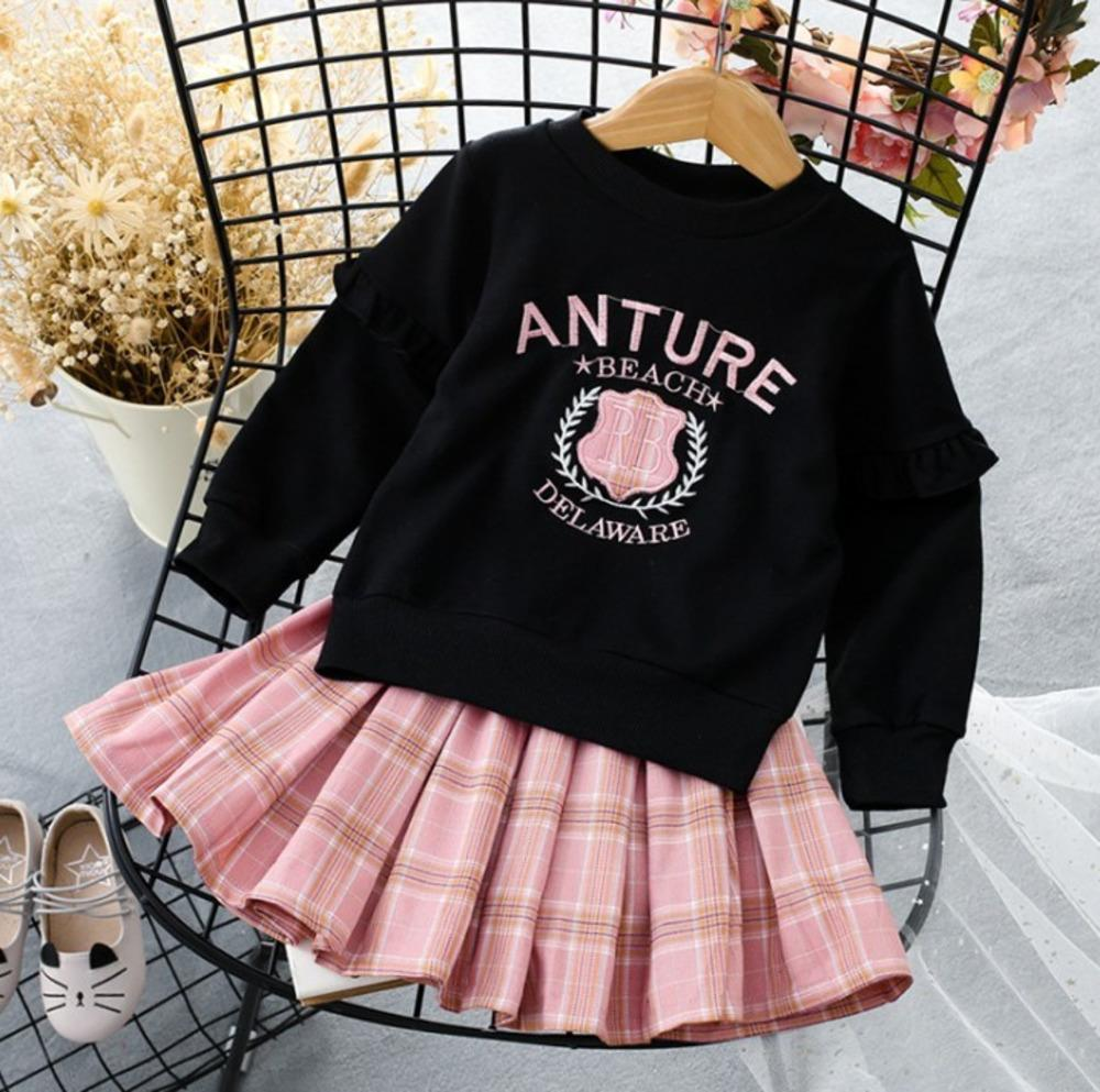 Herbst Kleid Kinderkleidung mit langen Ärmeln Jacke Lattice kurzer Rock-Zweiteiler Mädchen Anzug 020303