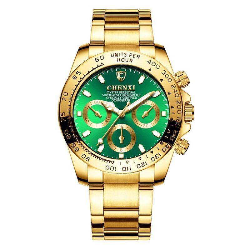 Dial Chenxi Masculino Relógios alta qualidade Quartz Relógio de pulso 3 decorativa moldura de ouro de discagem analógica cara de discagem analógica presente Rosto para Homens