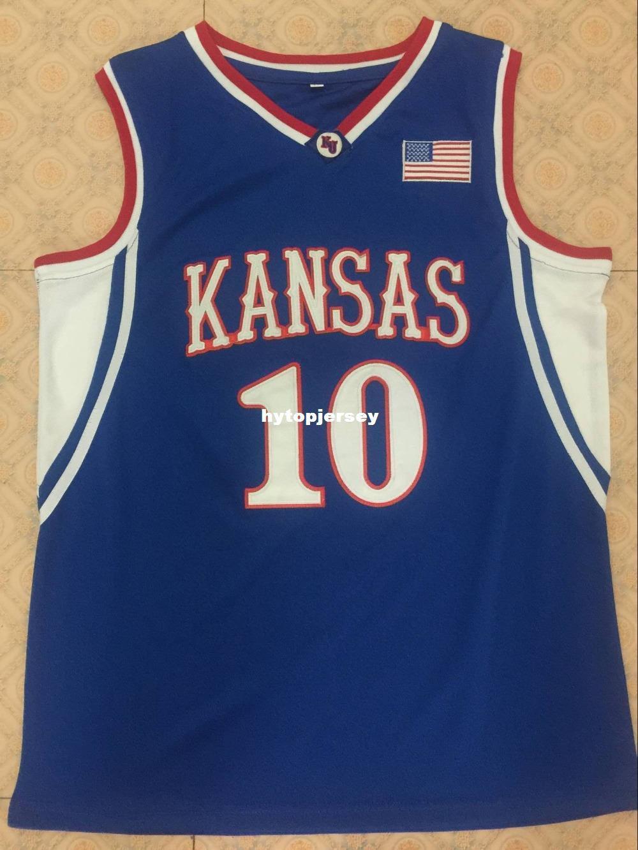 # 10 Kirk Hinrich Kansas Jayhawks Basketball Jersey alle Größe Stickerei genähtes anpassen einen beliebigen Namen und den Namen XS-6XL Weste Trikots NCAA