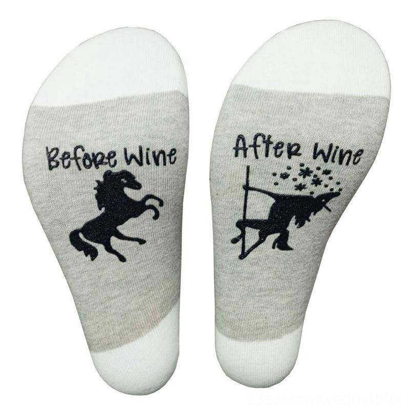 Lettre Creative Sous-vêtements Sous-vêtements de femmes Imprimé Avant vin Après vin drôle unisexe chaussettes Belle chaussettes de motif de cheval