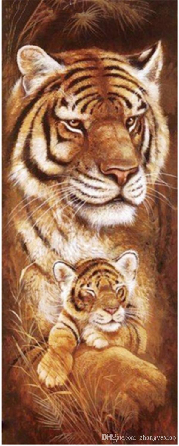 Diy diamante pintura do ponto da cruz kit de strass mosaico home decor presente animal tigre completo roundsquare diamante 5D bordado BB0220