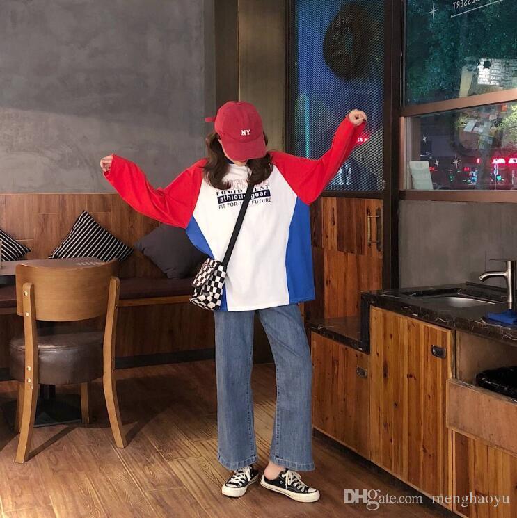 Harajuku style de correspondance des couleurs t-shirt femme à manches longues couleur version coréenne de la rue hip-hop lâche beau dans le long paragraphe sur