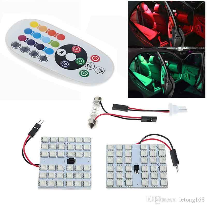 RGB 5050 12 15 24 36smd Panel LED Dome Light Auto control remoto Led Lámpara colorida DC 12V Con T10 adorno adaptadores