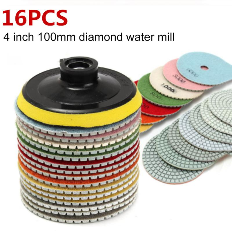 16pcs de 4 polegadas 100 milímetros de diamante polimento Kit Wet / Dry em granito blocos de betão de mármore Polimento Use piso Moagem discos Set