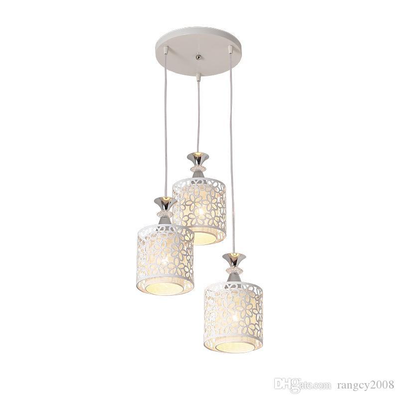 الحديثة قلادة ضوء غرفة الطعام المطبخ شنقا مصباح e27 led لمبة هدية الأبيض الحديد ديكور المنزل تركيبات الإضاءة 110-240 فولت