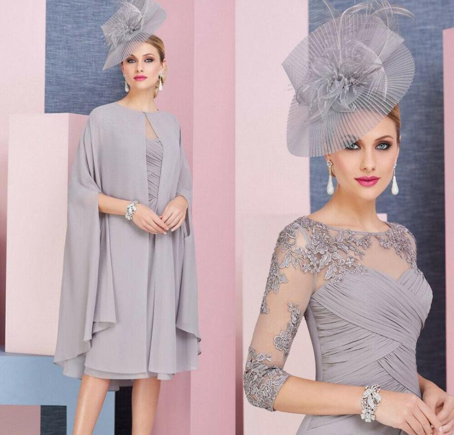 two pieces Elegant Knee Length Chiffon Mother Of The Bride Dresses With Cape Lace Appliqued Formal Mother Arabic Evening Gowns Prom Dress