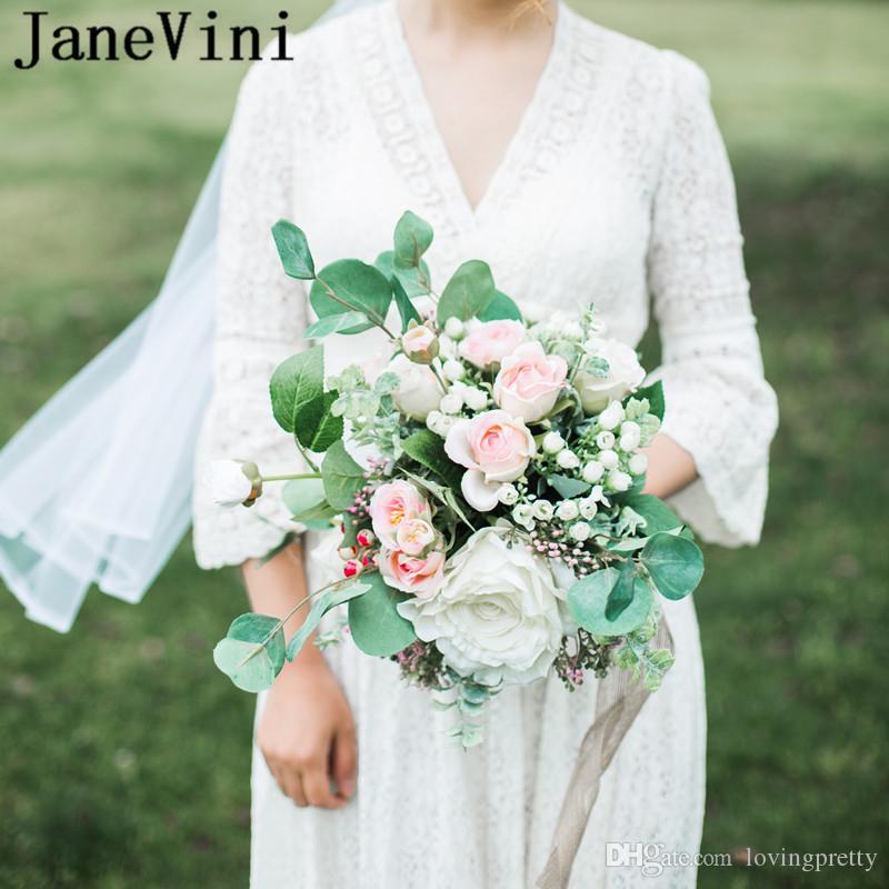 Acheter Janevini 2019 Bouquets De Mariage Romantiques Fleurs De Mariee Blanches Et Roses Style Campagnard Faux Bouquet De Roses Artificielles En Soie