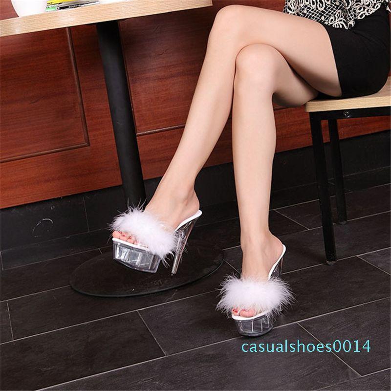 Sommer sexy Super Schuhe mit hohen Absätzen hohe dünne Ferse wasserdichte Plattform Frauen sexy Schuhe transparente Kristallschuhe c14