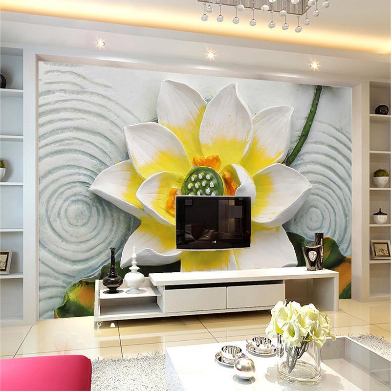 사용자 정의 사진 벽 종이 3D 입체 로터스 구호 백 드롭 거실 큰 벽 벽화 벽지 홈 장식 현대 회화