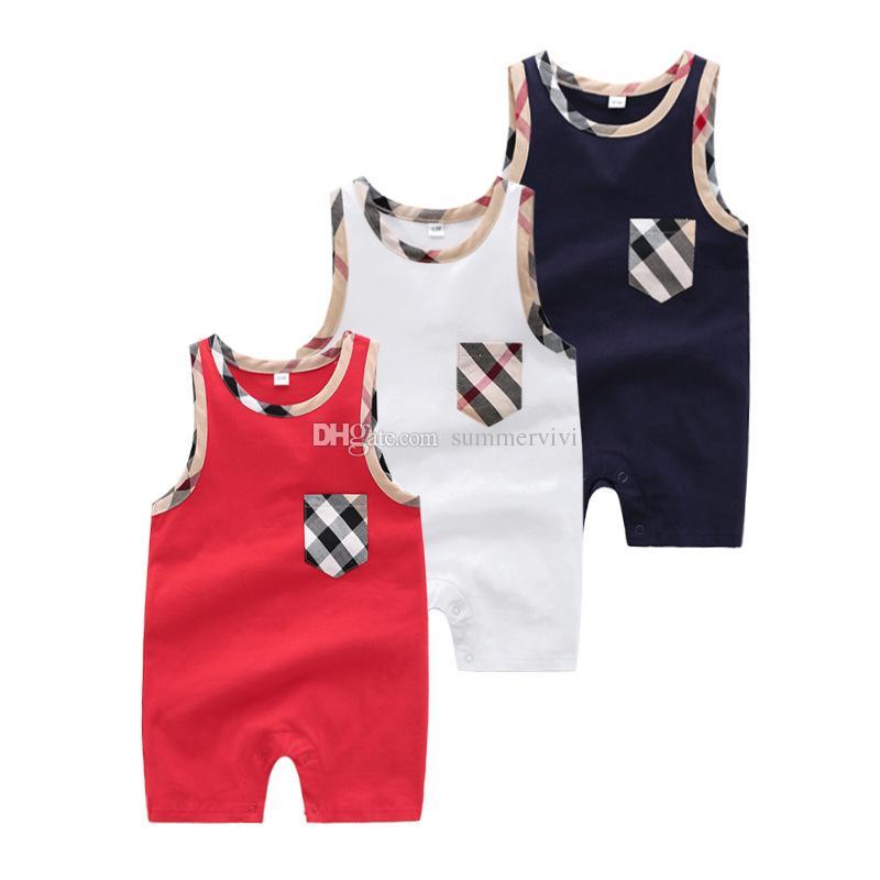 Infant Kids Romper Designer Baby Jungen Plaid Rundkragen Sleeveless Shorts Jumpsuits Neugeborene Kinder Baumwollwindel Baby Mädchen Kleidung F6874