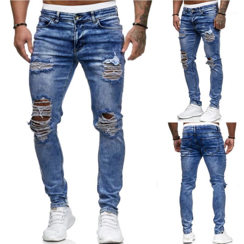 رجل ممزق جينز للرجال عارضة أسود أزرق نحيل صالح سليم سروال جينز السائق الهيب هوب الجينز مع مثير Holel سروال جينز جديد # G11