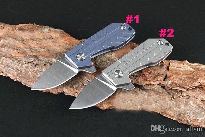 DHL Shipping HY Mini Small Frlipper Folding Knife D2 Drop Point Blade TC4 Titanium Alloy Handle Ball Bearing EDC Pocket Knives Gift Knife