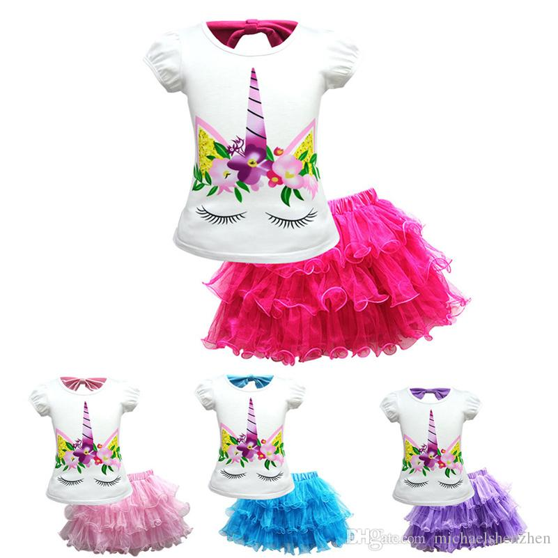 Girl Unicorn Short Sleeve Top and Pink Tutu Lace Skirts Summer Adorable Clothes Kids Size 5-8years