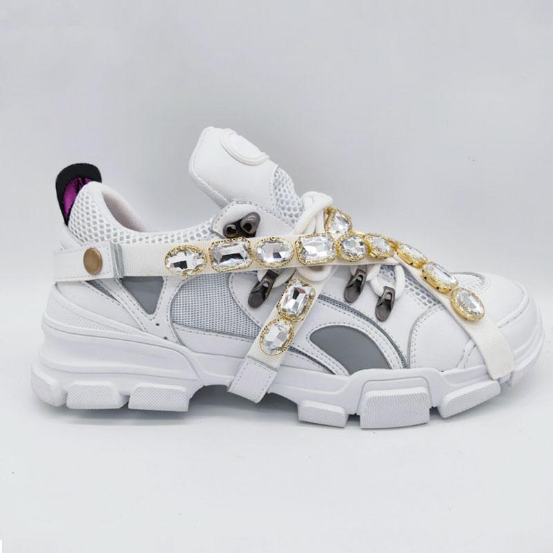 Os mais recentes FlashTrek sapatilha com cristais removíveis Mens Designer de Luxo Sapatos Moda Casual Luxury Designer Womens Sneakers Tamanho 35-45 L2