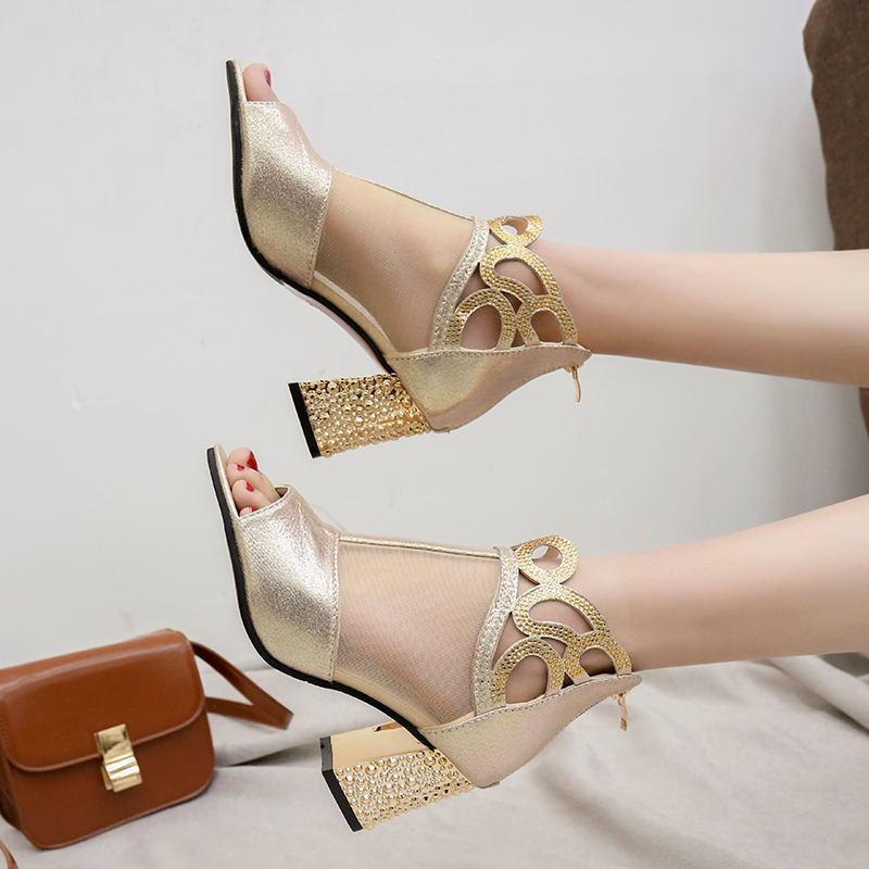 Femmes Chaussures de mariage Bottines Sandales peep toes Talons Robe Chaussures Sandales bling Pump Argent Or Sandales