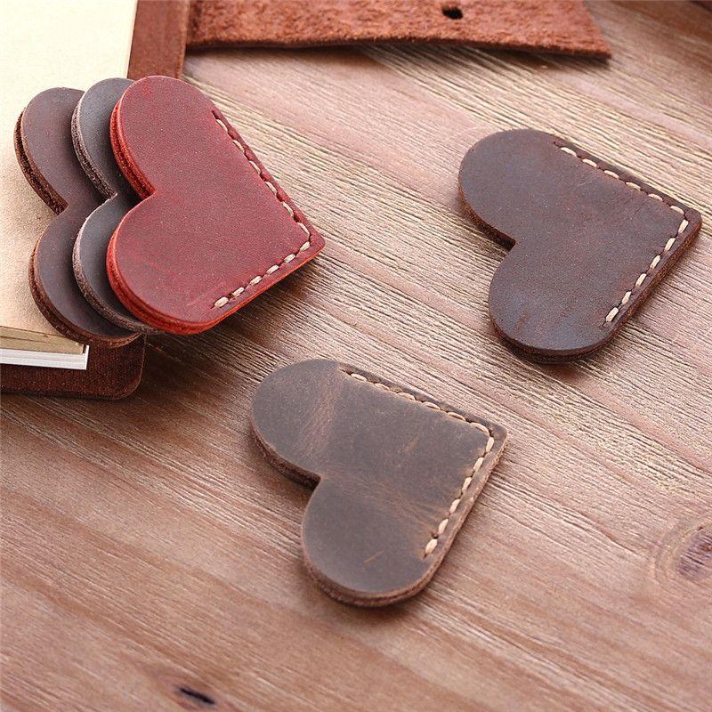 Vintage Okuyucu El yapımı Rustik imleri için İmi tam tahıl deri imleri Mini Köşe Sayfa Marker Kalp şeklinde