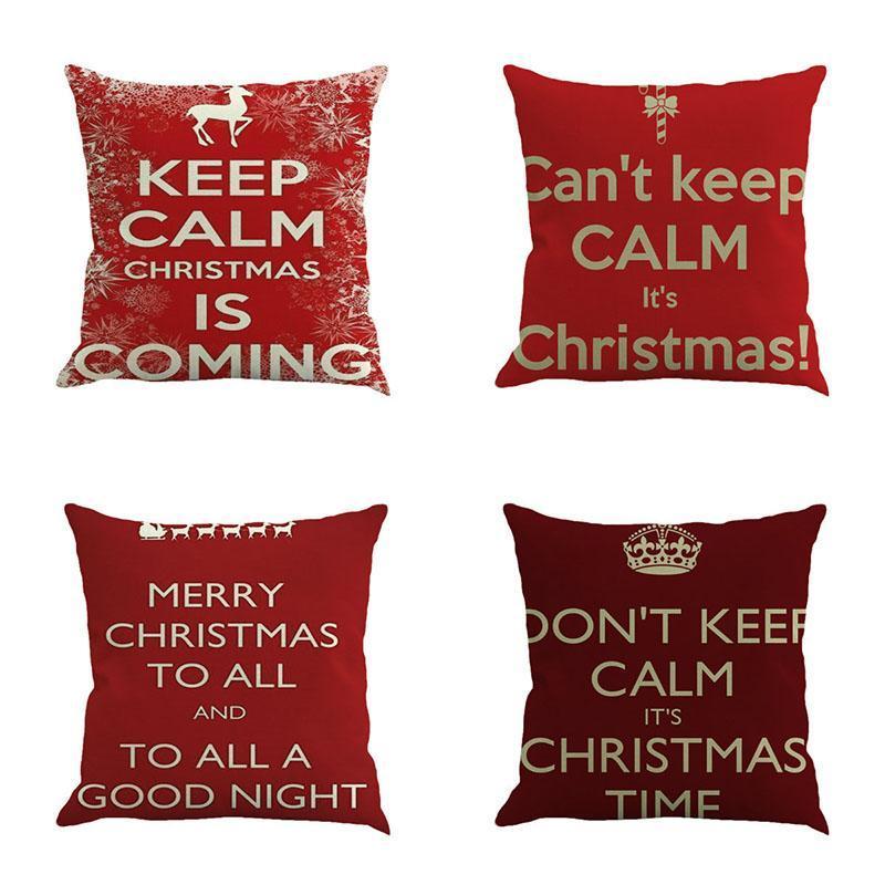 Cojín decorativo de Navidad de moda de la nueva vendimia de la cubierta del caso de Pillowslip almohadilla de tiro del caso para el sofá cama plaza de algodón de lino 45cm * 45cm