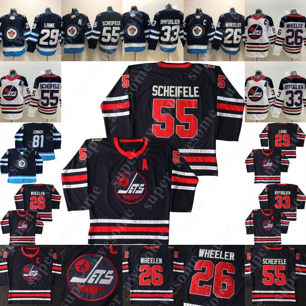 55 Mark Scheifele Jersey 26 Blake Wheeler 33 Dustin Byfuglien 29 Patrik Laine 13 Teemu Selanne Winnipeg Jatos Hóquei Jerseys Marinho Branco