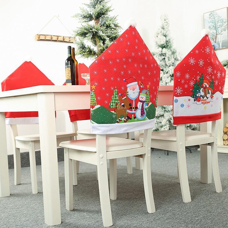 6pcs Noël Ornements couverture de chaise dîner Table à manger Père Noël flocon de neige Bonhomme de neige Ornement rouge Cap chaise Covers Décor