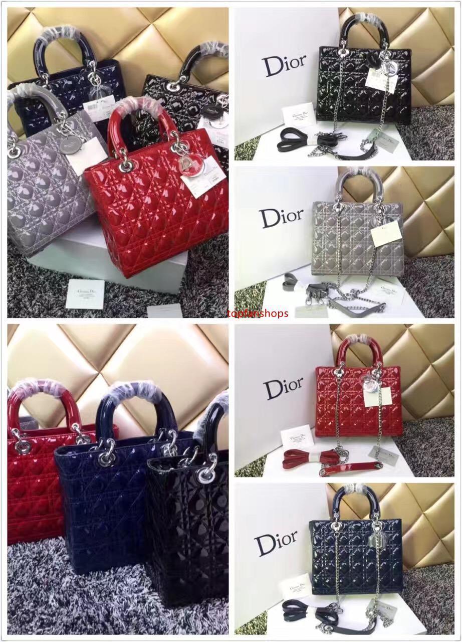 Luxe Qualité Brand Design Lady Xl Plaid Messenger Bag en cuir verni Véritable 7 Plaid Sac fourre-tout avec peau d'agneau Charms Mlle Sac Chain