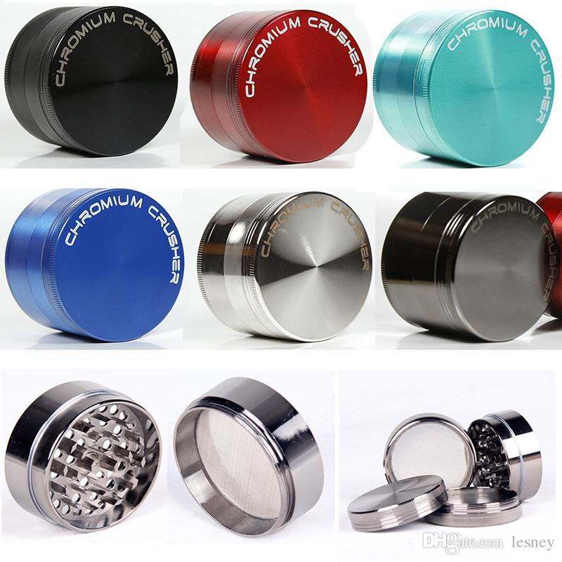 Free Shipping 4 Layers Grinders Colored Herb Grinder Zinc Alloy 40 50 55 63mm Diameter CHROMIUM CRUSHER Sharpstone Grinders Dab Smoking Tool