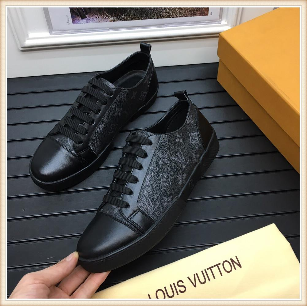 Run Away Sneaker Mens sapatos de couro de luxo Casual Top Quality Shoes Borracha Lace-Up Tamanho 38-44