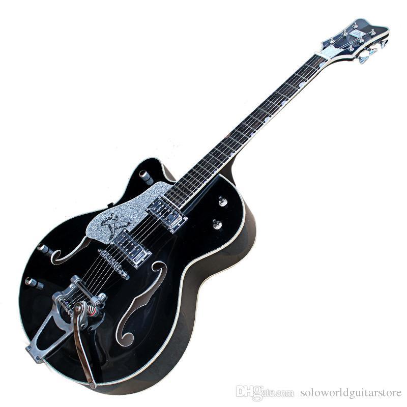 왼손잡이 블랙 반 빈체 크롬 하드웨어 2 개의 픽업 전기 기타와 빅 트레몰로 브리지,자단,Fingerboard,사용자 정의 할 수 있습니다