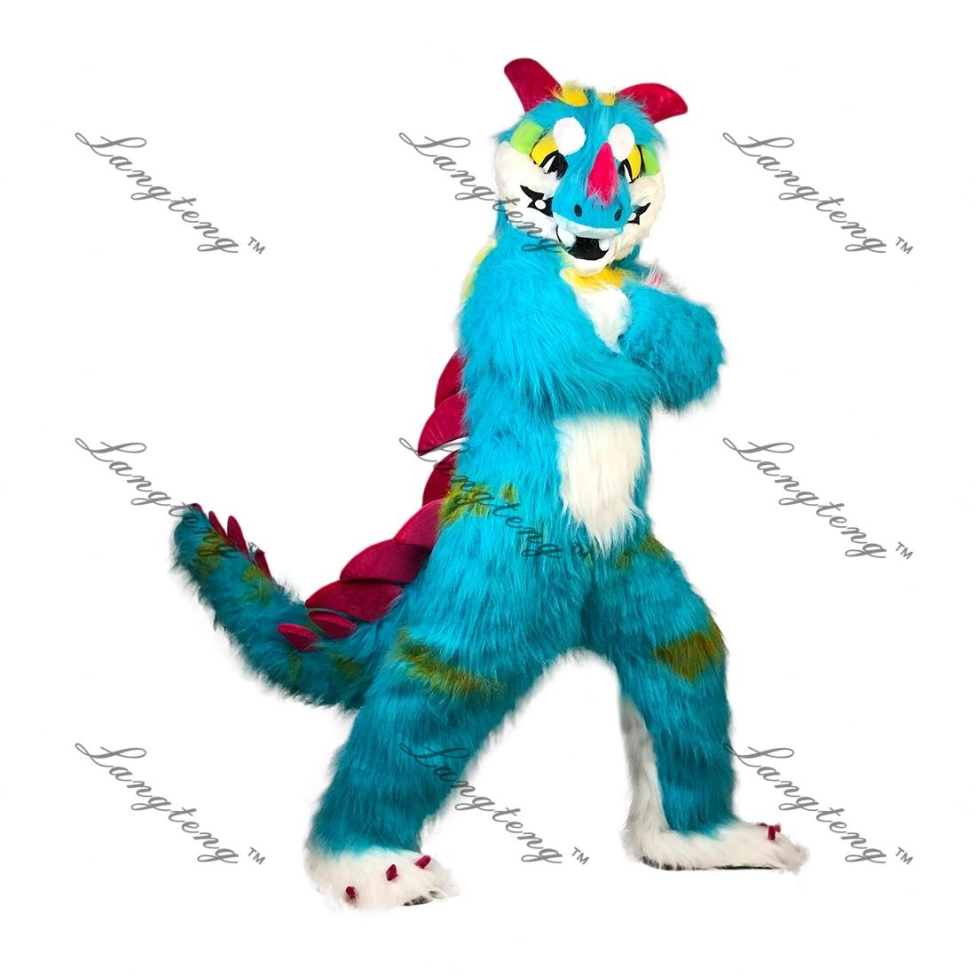 Blue Dragon Mascot Costume Cartoon Longteng high quality Long-haired fursuit costme (wolf dog fox husky Dragon)