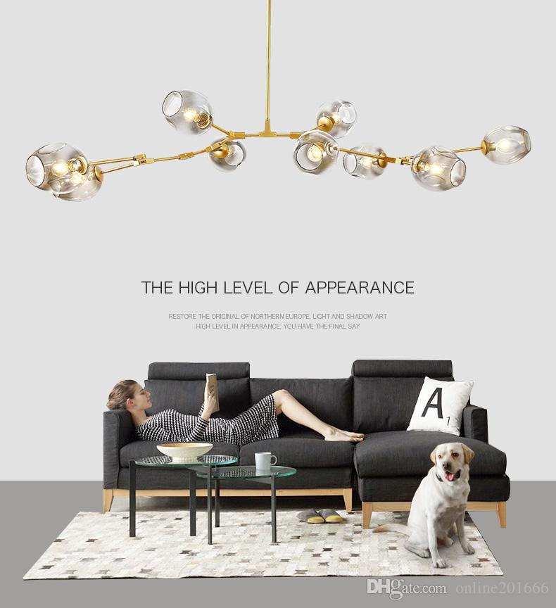 New Globe Glass führte Kronleuchter Lichter Nordic Moderne Kronleuchter Licht Beleuchtung Pendent Lampe Glaskugelleuchten 110V-220V
