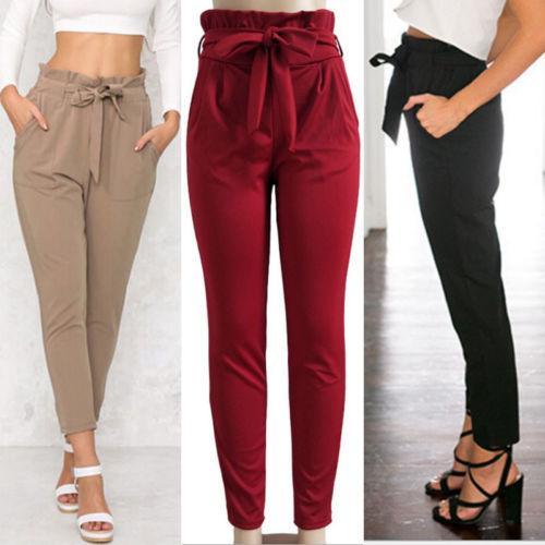 Compre Mezcla De Algodon De Las Mujeres Harem Elastico De Cintura Alta Pantalones Cosechados Longitud Comprimida A 11 57 Del Candd Dhgate Com