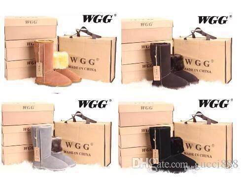 DORP grátis 2019 Alta Qualidade WGG Clássico das Mulheres altas botas Botas de Inverno botas de Bota de Neve das Mulheres de couro de inicialização EUA TAMANHO 5 --- 13