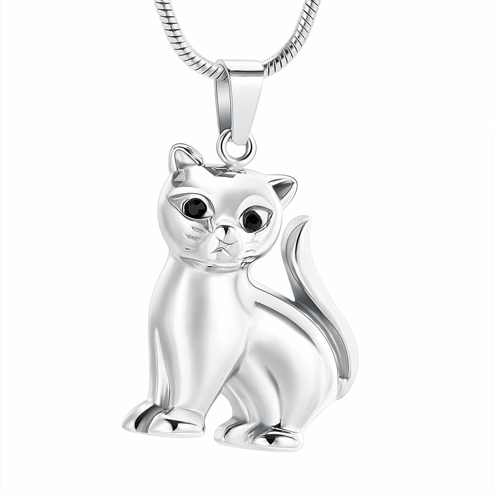 Hh1502 acier inoxydable Belle Chat Animal crémation Pet Memorial Pendentif tenir pour cendres Urne Collier Bijoux