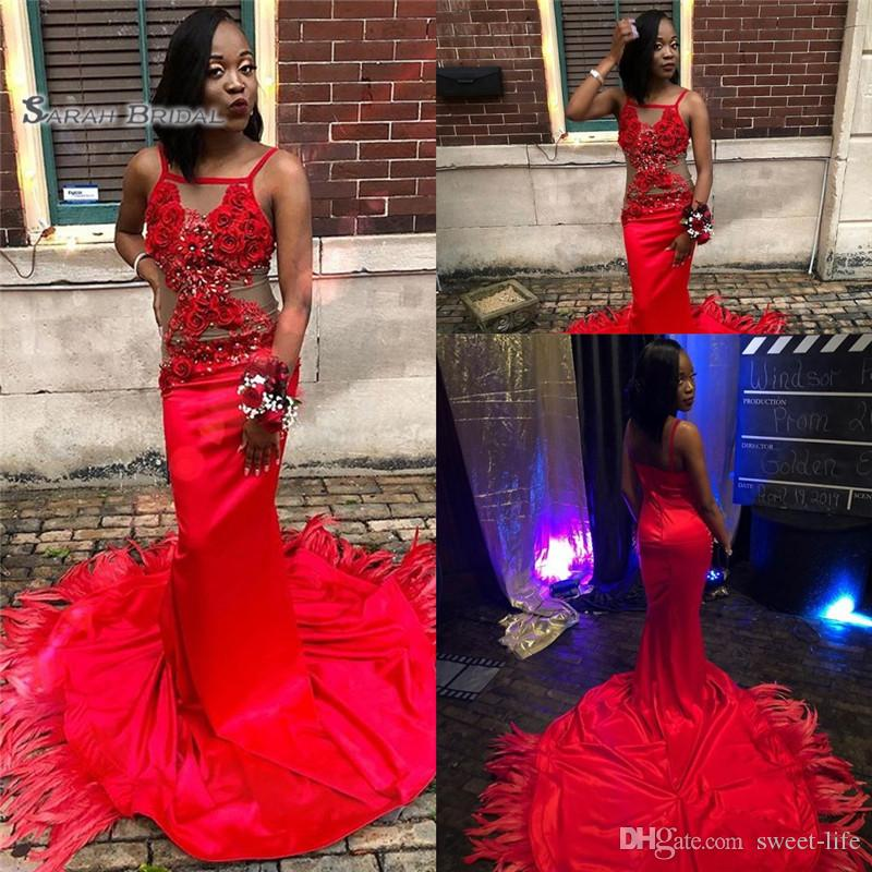 2019 Sexy Red Mermaid Spaghetti Handmade Flowers and Beads Evening Dresses With Beads Formal Party Dresses Prom Gowns
