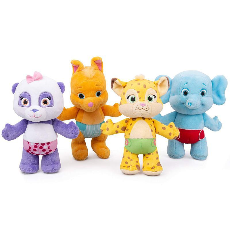 4pcs / set Palavra leopardo Florestas partido Frineds Panda Elephant canguru Animais Stuffed Plush Toy