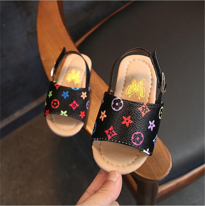 여름 신발 아동 샌들 여자 남자 PU 가죽 슬리퍼 꽃 Sandale 스니커즈 미끄럼 방지 신발 스포츠 비치 목욕 신발 B6251