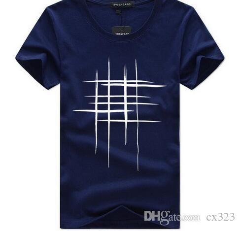 Erkek T-Shirt Yaz Kısa Kollu t gömlek erkekler Basit yaratıcı tasarım hattı çapraz Baskı pamuk Marka gömlek Erkekler En Tees