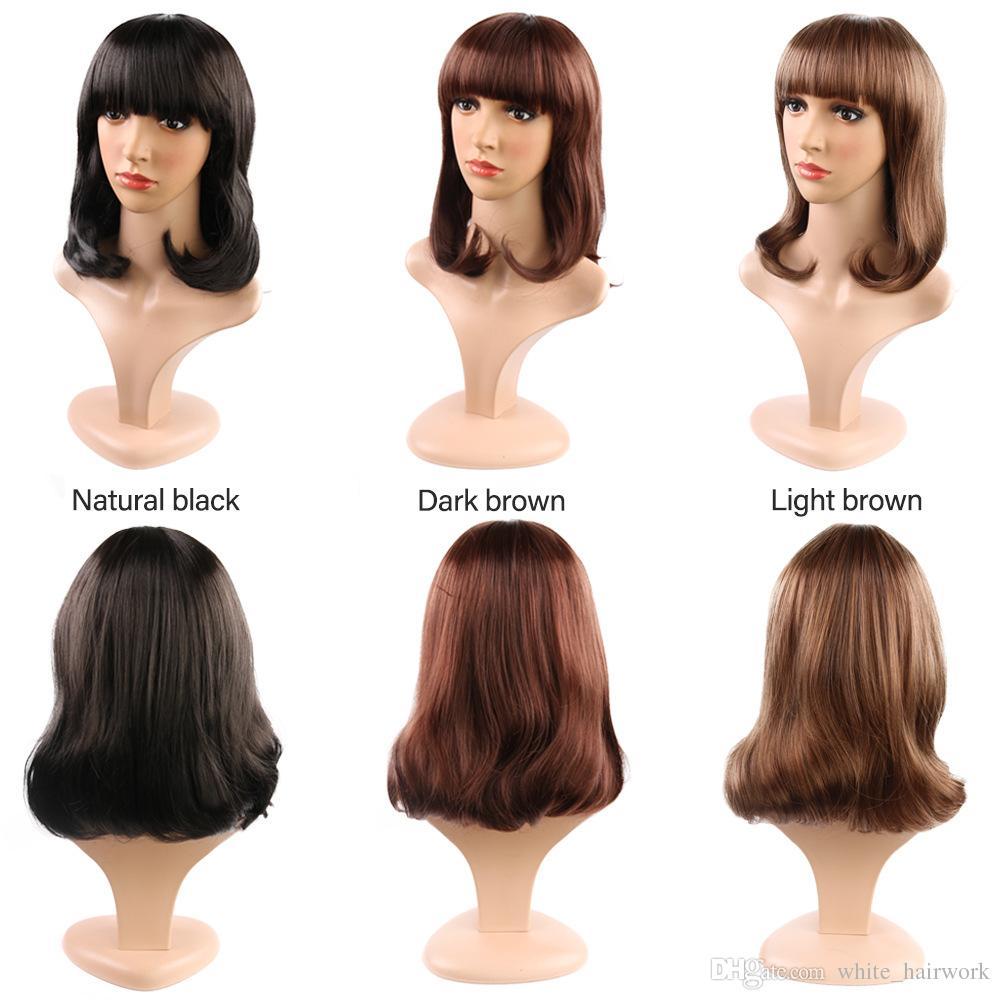 Las pelucas enteras de la moda de la peluca hacen frente a la cabeza de flor larga de la pera del pelo BOBO sistemas vendedores calientes de la peluca de Liuhai