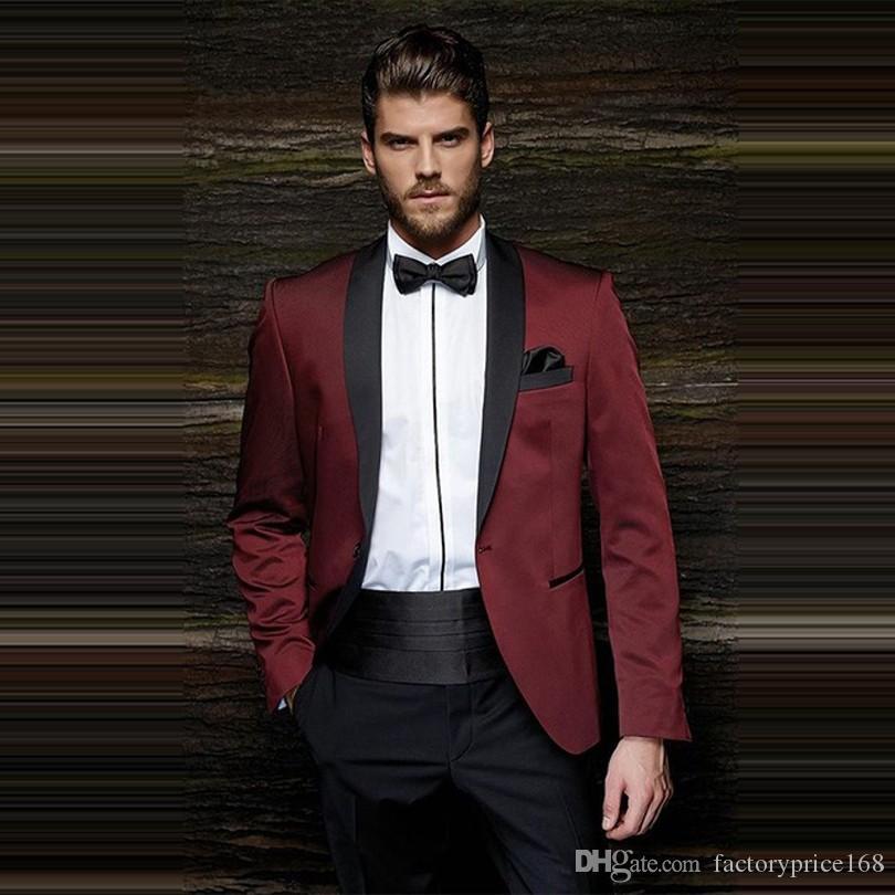 Популярные One Button Groomsmen шаль лацкане жениха смокинги Groomsmen Шафер костюм мужские свадебные костюмы Жениха (куртка + брюки + Tie) B373