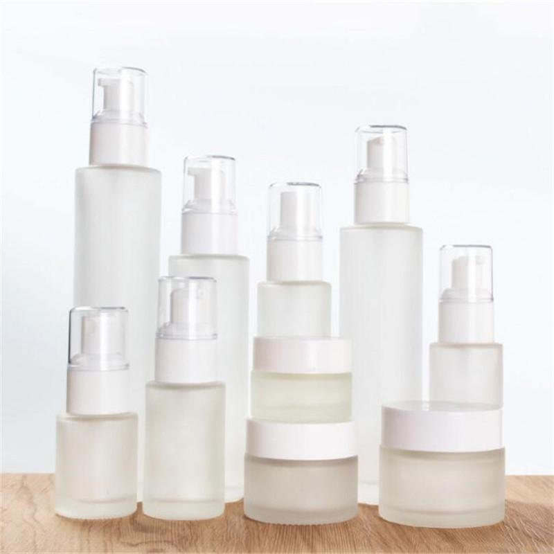 30ml 40ml 60ml 80ml 100ml Frosted Glass Cosmetic Bottle Empty Refillable Lotion Spray Bottle Cosmetics Sample Storage Containers Jars