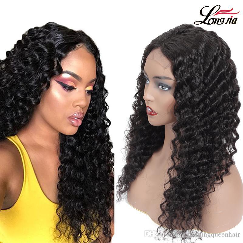 4x4 profunda onda Lace Wig frontal Pré arrancada brasileira onda profunda Cabelo Humano Perucas Natural Color onda profunda cabelo encaracolado Virgin