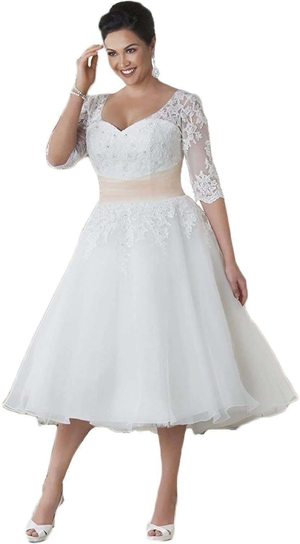 DiscountWomens Half Sleeve Tea Length Lace Beach Wedding Dress ...