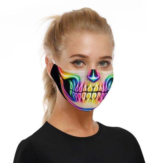 Filtro digital máscara máscaras del fiesta de Halloween Cosplay Deportes de la cara de la bandera cráneo antiestáticos reutilizables máscara de polvo PM2.5 anti-niebla máscaras protectoras GGA3356-11