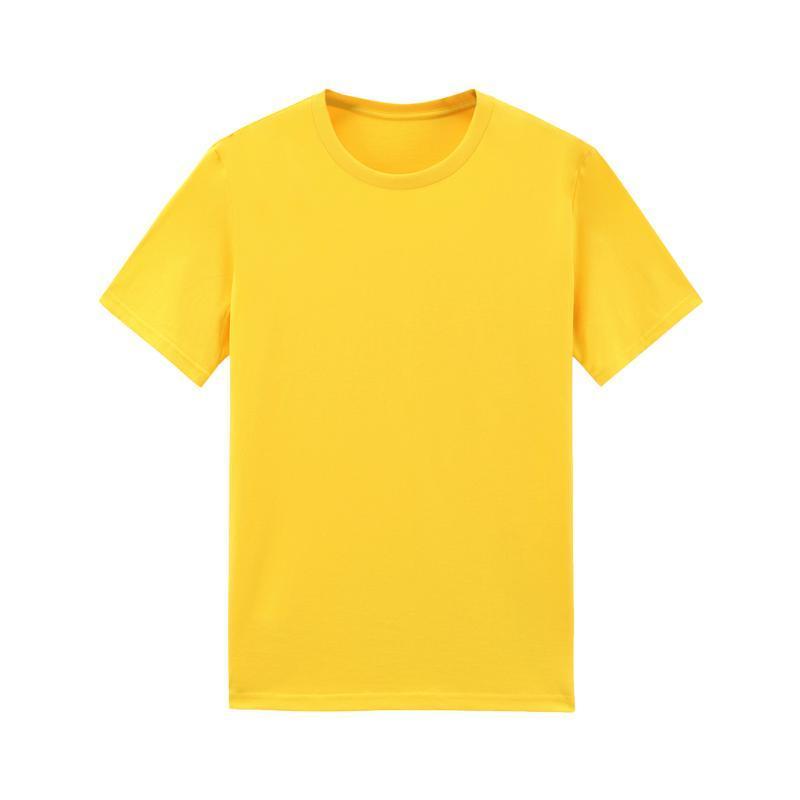 Summer Men Top Yellow T-shirts Man Oversized T Shirt for Boy Short Sleeve Cotton Tshirt Homme Casual Blank Basic Tee Shirt XXL