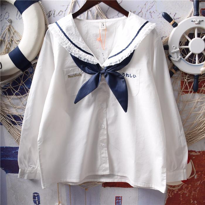 المرأة البلوزات قمصان النساء الحلو طويل الأكمام أبيض الصلبة بحار الياقة اليابانية لطيف kawaii جونيور فتاة preppy نمط القطن الأساسي