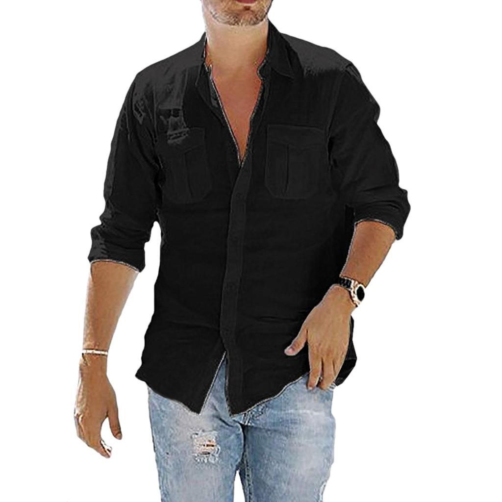 Льняная рубашка Повседневных Тонкие Твердые простые рубашки с длинным рукавом гавайской кнопки Бич вниз блузка 2019 новыми осенними мод для мужчин